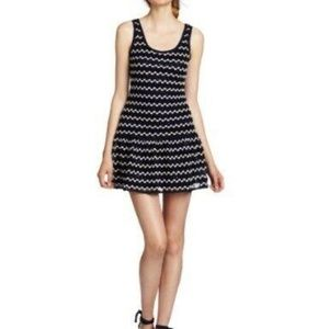 Ali Ro 10 Crochet Sequin Striped Dress Fit Flare